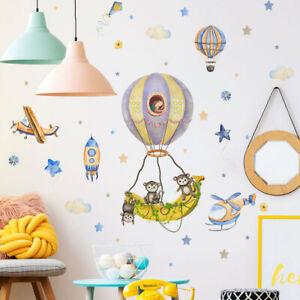 Hot Air Balloon Monkey Cartoon Wall Decal Nursery Baby Room Decor Art Sticker