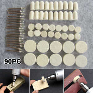 90PCS WOOL FELT POLISHING PADS BUFFING WHEEL DREMEL ROTARY TOOL ACCESSORIES SET
