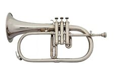 BRAND NEW Bb Flat Silver Nickel FLUGEL HORN WITH FREE HARD CASE+MOUTHPIECE