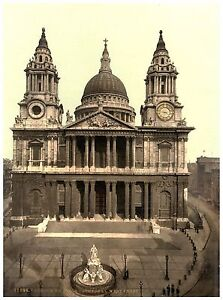 St. Paul's Cathedral West Front London Vintage photochrome print ca. 1890