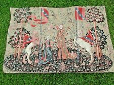 "vintage Medieval Royal Maiden Heraldry 40""x26"" Tapestry with Loop for Hanging NR"