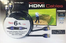 WireLogic 2-PACK HDMI Cables 6 ft High Performance Ethernet UltraHD 4K + Coupler