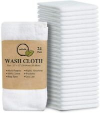 Pack of 24 Cotton Ring Spun Washcloths 12x12 inches for Face Towels Wash Cloth