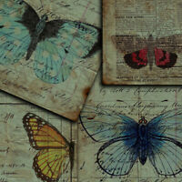 4X Vintage Paper Pad Butterfly English Newspaper Scrapbooking Junk Journal Craft