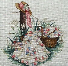 COUNTED CROSS STITCH Leisure Arts  PINK RIBBON Dresden plate quilt matted framed