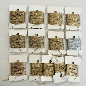 Metallic Braid Thread Lot of 13 Cards Gold Silver New Gorgeous Tapestry Lustre