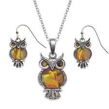 Tide Jewellery inlaid orange Paua shell owl pendant & matching hook earrings
