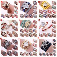 Bow-knot PU Leather Quartz Bangle Women Watch Bracelet Wrist Fashion XMAS Gift
