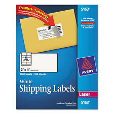 """1000 Avery Shipping Labels Laser 2"""" x 4"""" White"""