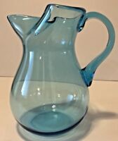 """Vintage Aqua Blue Glass Pitcher With Folded Top 7"""" Tall"""