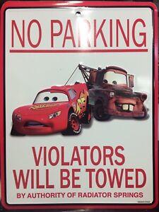 "Disney Cars 11"" X 8.5"" Lightning McQueen & Mater NO PARKING Tin Sign"
