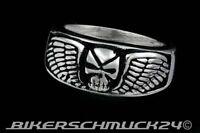 Biker Schmuck Totenkopf Ring Adlerflügel Wing Edelstahl Skull Herren Geschenk