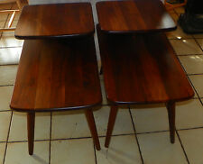 Mid Century Pair of Solid Walnut Step End Tables by Bissman  (T609)