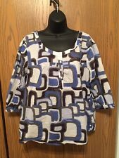 Ana Top Womens Size XL Blouse 3/4 Sleeve Blue Brown Neutral Semi Sheer Blouse