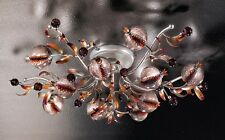 Plafoniera classica di design platino con vetri coll. BELL ametista 1650/PL10L