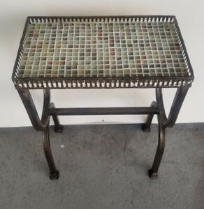Custom Handmade Side Accent Table, Signed, Multi-colored Italian Tile, NEW!