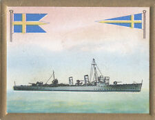 Destroyer Nordenskjöld Sweden Suede Marine Navy Battleship FLAG CARD 30s