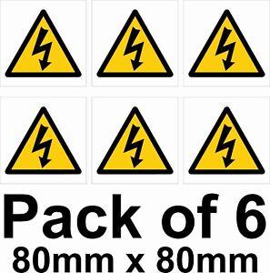 High voltage electrical shock warning hazard symbol sticker safety sign 6 pack