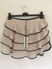 Bnwt Ladies Silk Beige & Brown Frilly Mini Skirt Size 10 From Topshop New