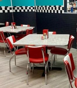 Retro Dinette Set - 4 V Back Chairs Polished Aluminum Edge Table