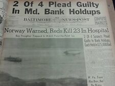 WW2 NEWSPAPER JANUARY 30 1940 Norway Warned Reds Kill 23 In Hospital BNP CM