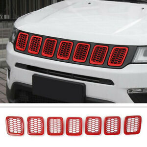 Fit For Jeep Compass 2017-2021 ABS Red Front Mesh Grille Grill Frame Cover Trim
