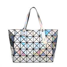 Women Large Hologram Bag Holographic Handbag Tote Satchel Shoulder Bags SILVER