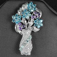Sterling Silver 925 Large Genuine Amethyst & Topaz Gem Vase of Flowers Brooch