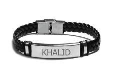 Nom Bracelet Khalid-Homme en Cuir Tressé Gravé Bracelet-Eid Islam Arabe