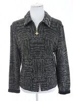 St John Collection Gray Full Zip Up Knit Sweater Jacket Geo USA Women Sz 14