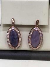 18k Rose Gold Sterling Silver White Sapphire & Purple Amethyst Oval Earrings New