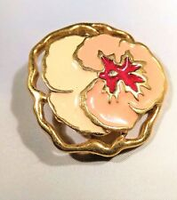 Enamel Hawaiian Lei Orchid Flower Brooch Pin Gold Tone Coral Peach Cream Red