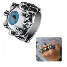 Claw Vintage Biker Blue Evil Eye Stainless Titanium Skull Finger Ring
