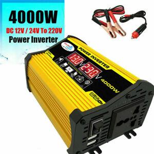 4000W Peak Car Van Converter Power Inverter 12V 110/220V USB Sine Wave Modified