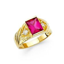 Gold Band Fashion Emerald Cz Stylish Fancy Red Cz Mens Ring Solid 14k Yellow