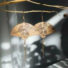 Vintage Chinese Style Fan-shaped Earrings 18K Gold Hoop Dangle Jewelry Wedding