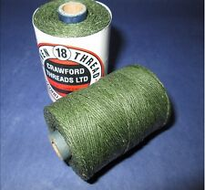 Waxed Linen thread  18 / 4 .      100 metre spool emerald green