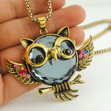 Women Owl Vintage Crystal Pendant Necklace Animal Long Sweater Chain Jewelry HOT