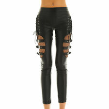Black LWomen Wet Look Mid Waist Pant Fishnet Splice Thigh Skinny Legging Trouser