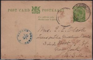 SOUTH AFRICA 1917 1/2d KG5 PSC missing stamp CDS and censor mark @D6399