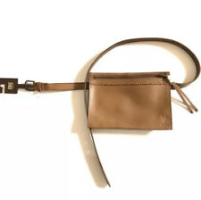 Frye Leather Tan Brass Buckle Belt Bag Medium retail $218