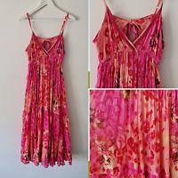 Vtg 90s Peace Angel Pink Floral Leopard Print Cotton Maxi Dress M Cut Out Boho