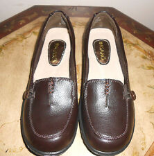 INGARO Womens Brown Faux Leather Wedge heel Loafers Slip on Casual Shoes Sz 7.5M