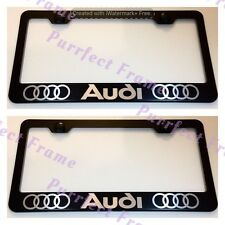 2X AUDI LASER Style Black Stainless Steel License Plate Frame Rust Free W/ Caps