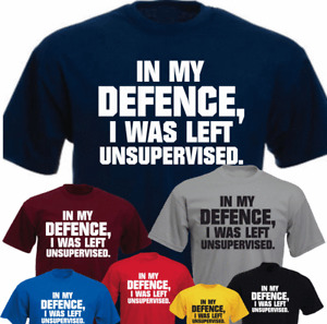 In My Defence I Was Left Unsupervised New Funny Gift Present Birthday T-shirt