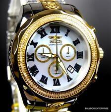 Invicta Grand Pro Diver 107 White Diamonds MOP 47mm 2 Tone Gold Steel Watch New