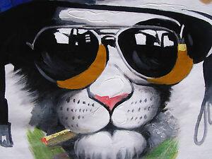 cat mafia large street art painting  canvas print wall decor