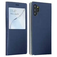Smart view window flip case for Samsung Galaxy Note 10 Plus slim cover Dark blue