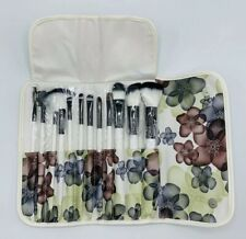 Professional Makeup Brush Set 12 Piece With Floral Travel Snap Pouch - New