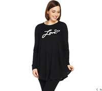 AnyBody Loungewear Brushed Hacci Message Swing Top Color Black/Love Size Medium